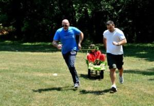 Staff team building carton race